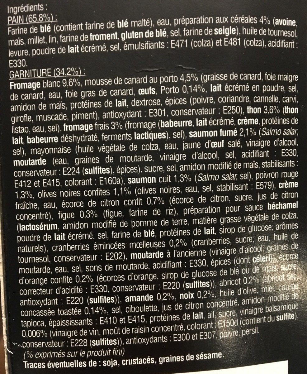 Pain Surprise aux céréales surgelé - Ingredients - fr