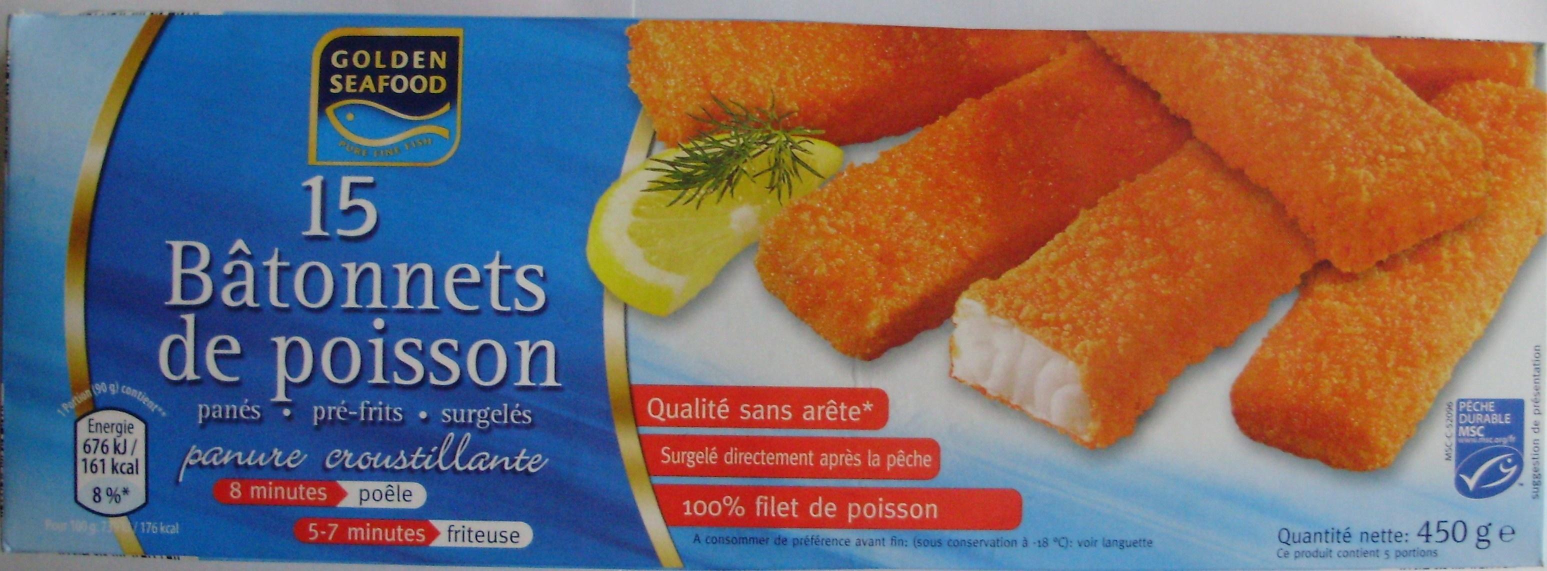 15 Bâtonnets de poisson (panés, pré-frits, surgelés) - Product - fr