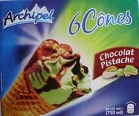 6 Cônes Chocolat Pistache - Produit - fr