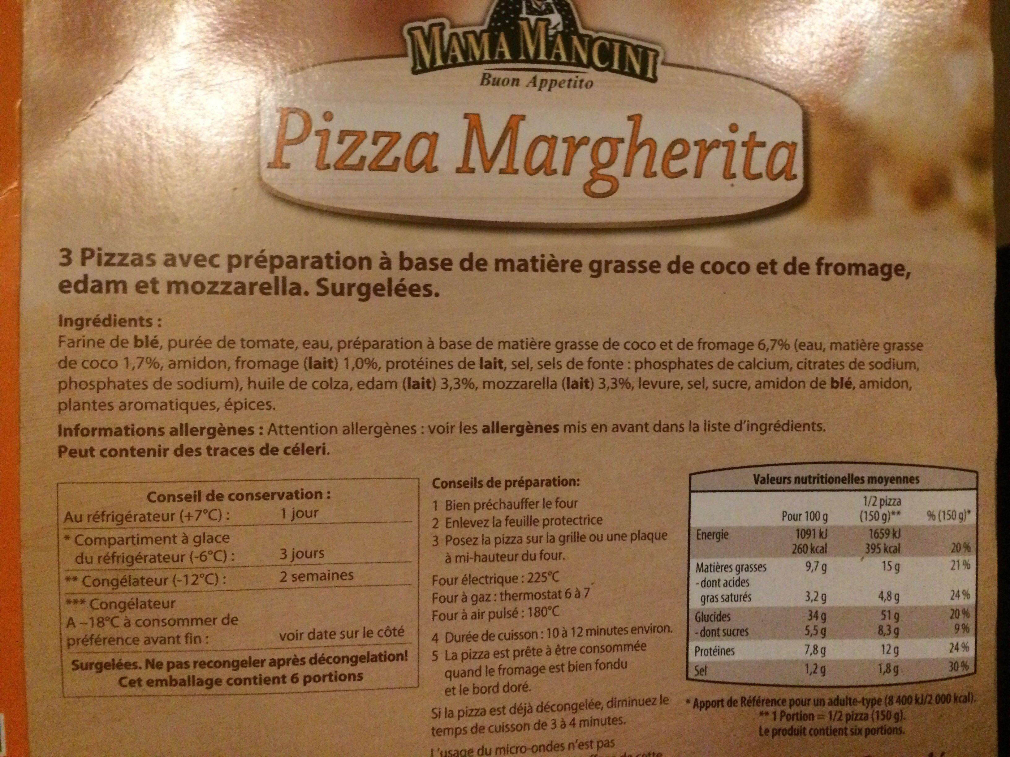 3 Pizzas Margherita - Ingredients - fr
