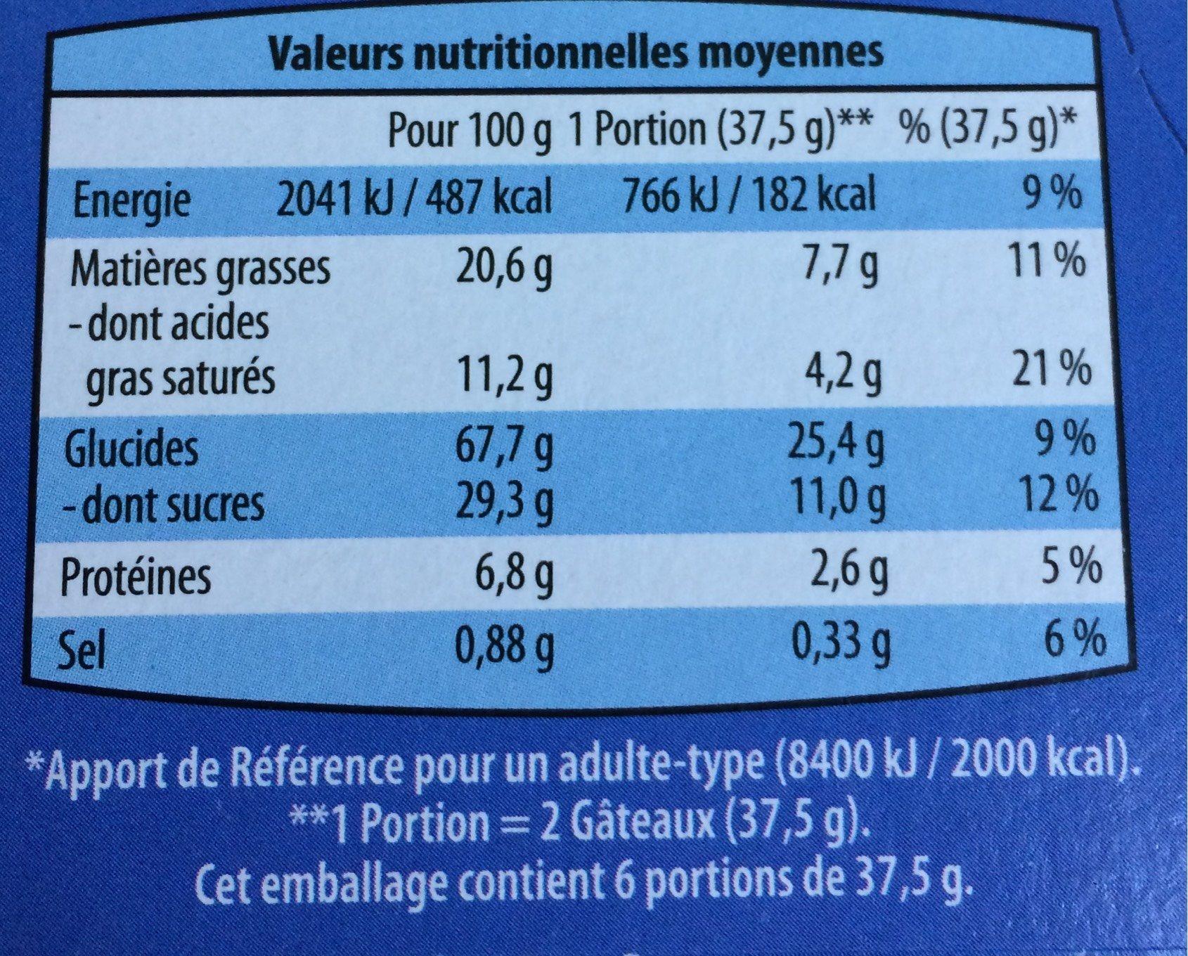 Biscuit aux céréales nappés de chocolat au lait - Voedingswaarden