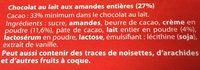 Chocolat Lait Amandes - Ingrediënten - fr