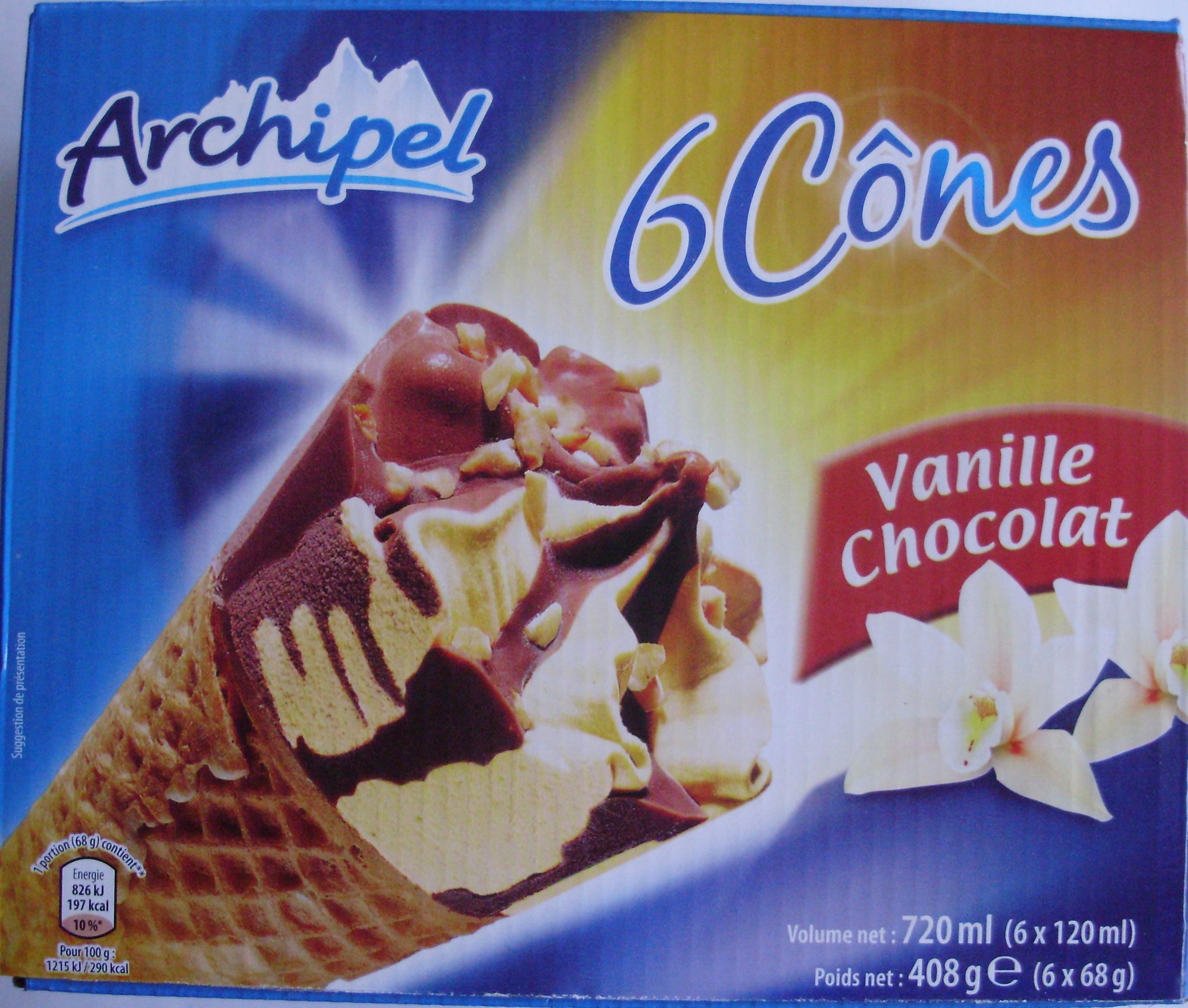 6 Cônes Vanille Chocolat - Produit - fr