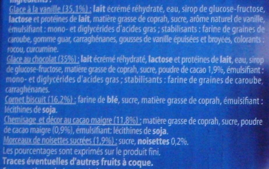 6 Cônes Vanille Chocolat - Ingrédients - fr