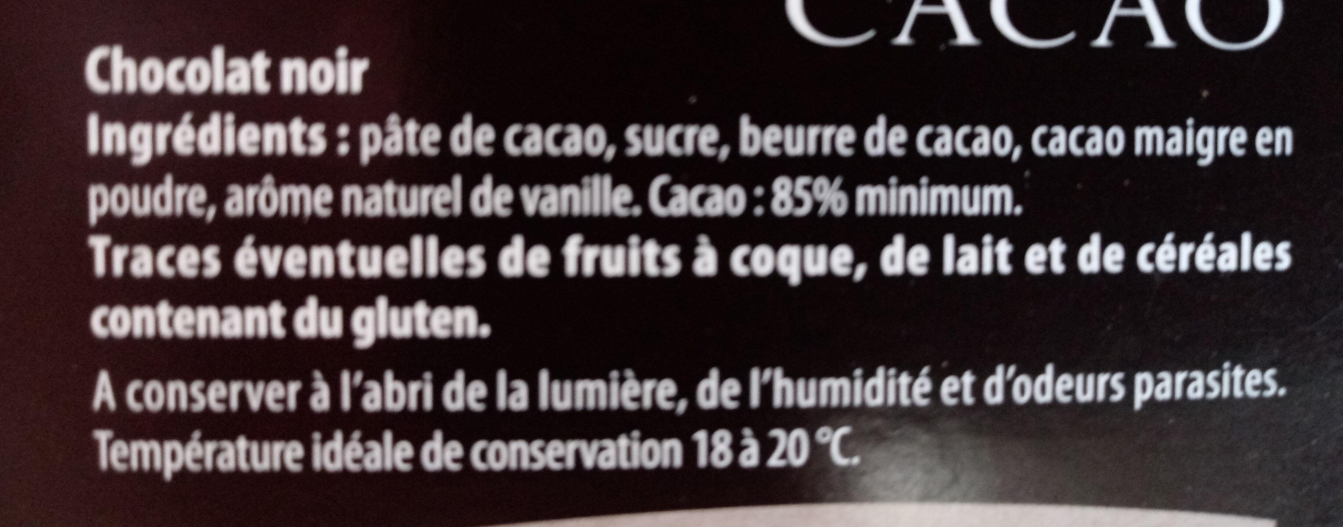 Chocolat noir - Ingrédients