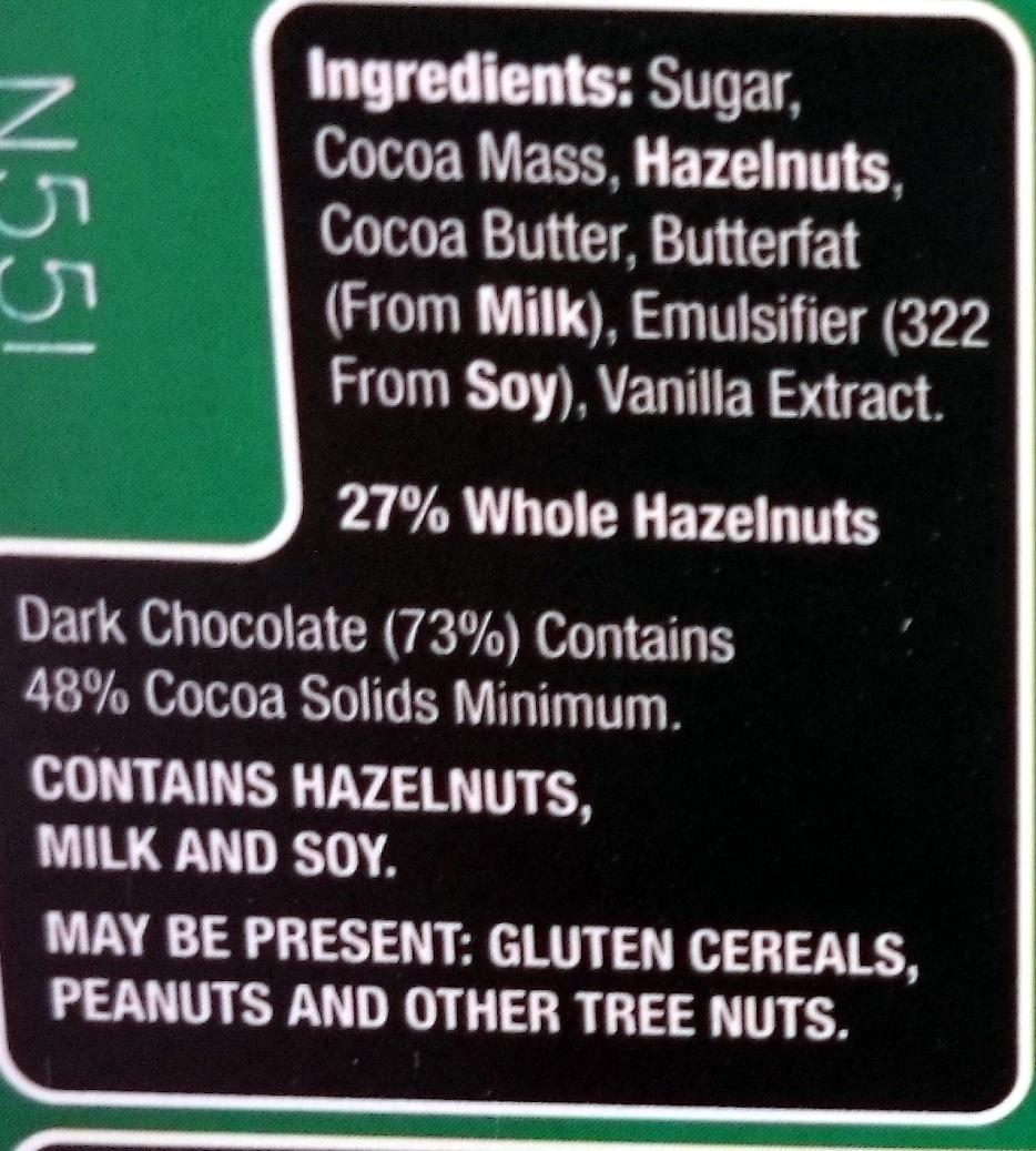 Choceur Dark Hazelnut - Ingrédients