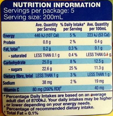 Westcliff Pineapple Juice Unsweetened - Nutrition facts