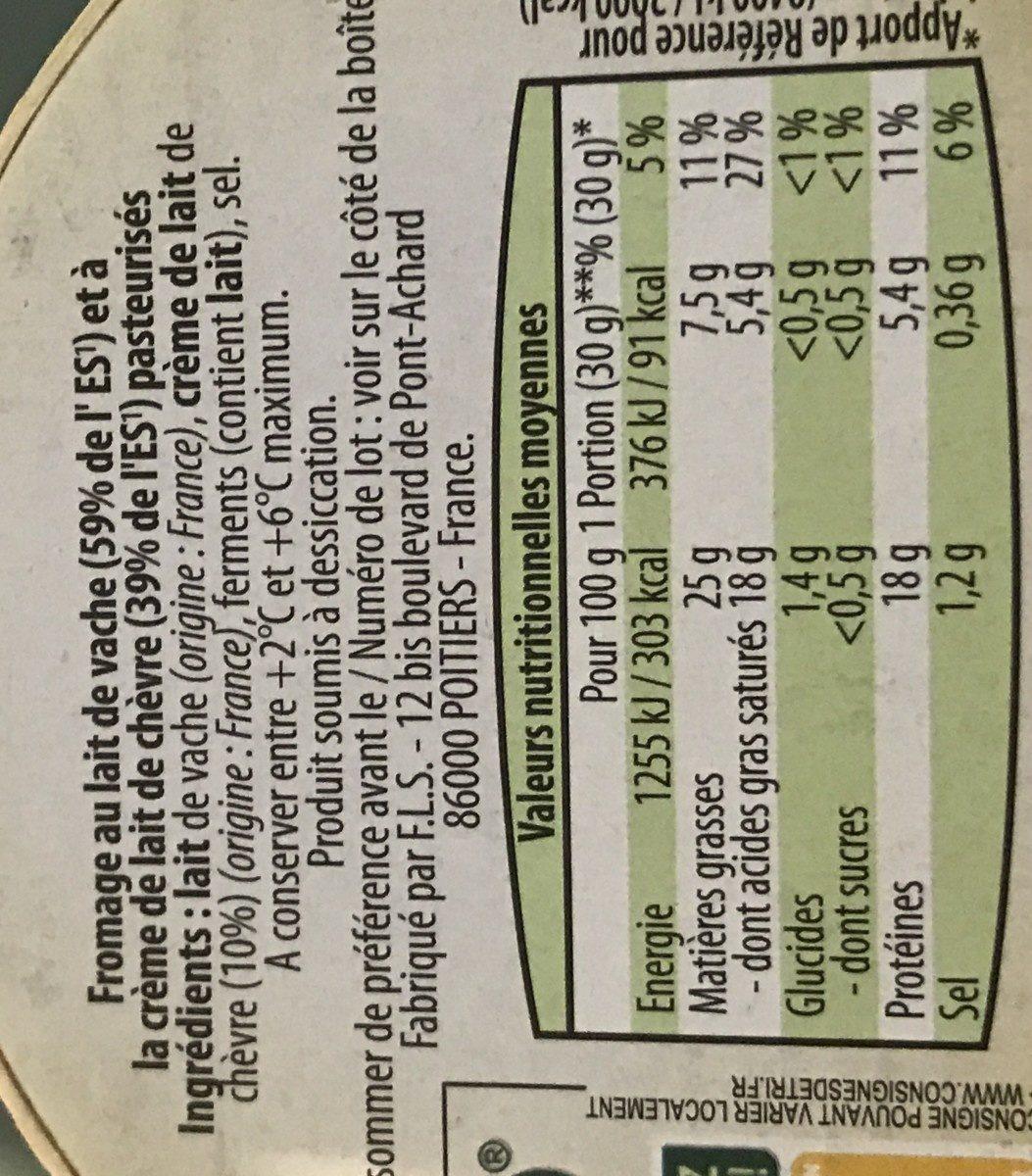 Fromage crémeux au chèvre - Ingrediënten