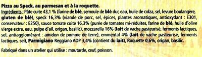 Pizza (Speck Parmesan Roquette) - Ingrediënten - fr
