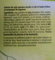 Galette de soja et légumes à la provençale - Ingredients