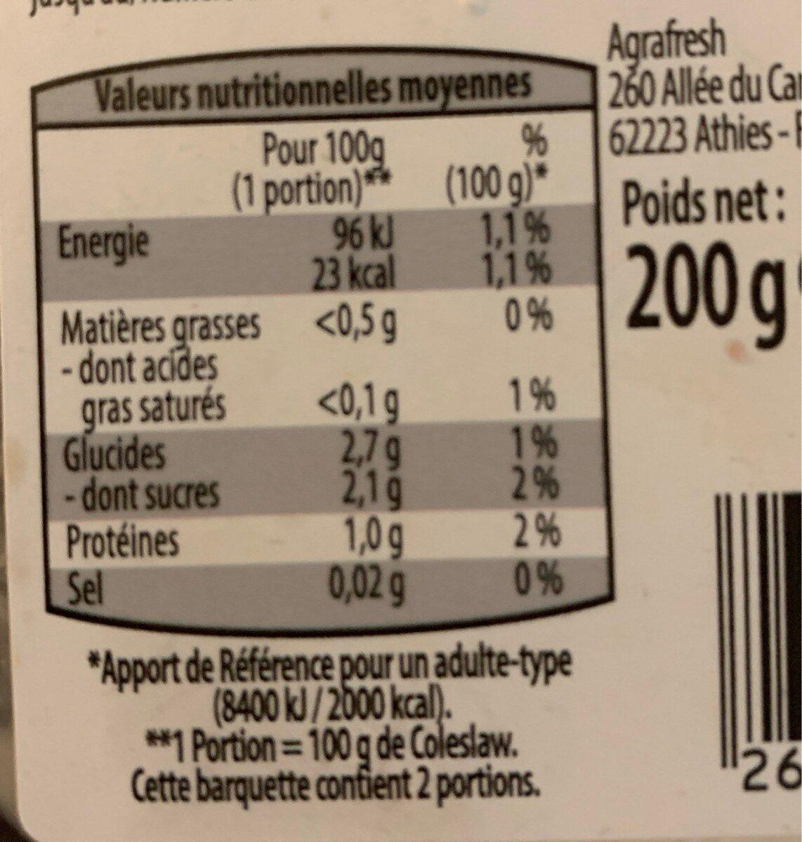 Préparation pour Coleslaw râpé - Informations nutritionnelles - fr