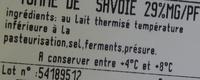 Tomme de Savoie IGP (29% MG) - Ingredients - fr