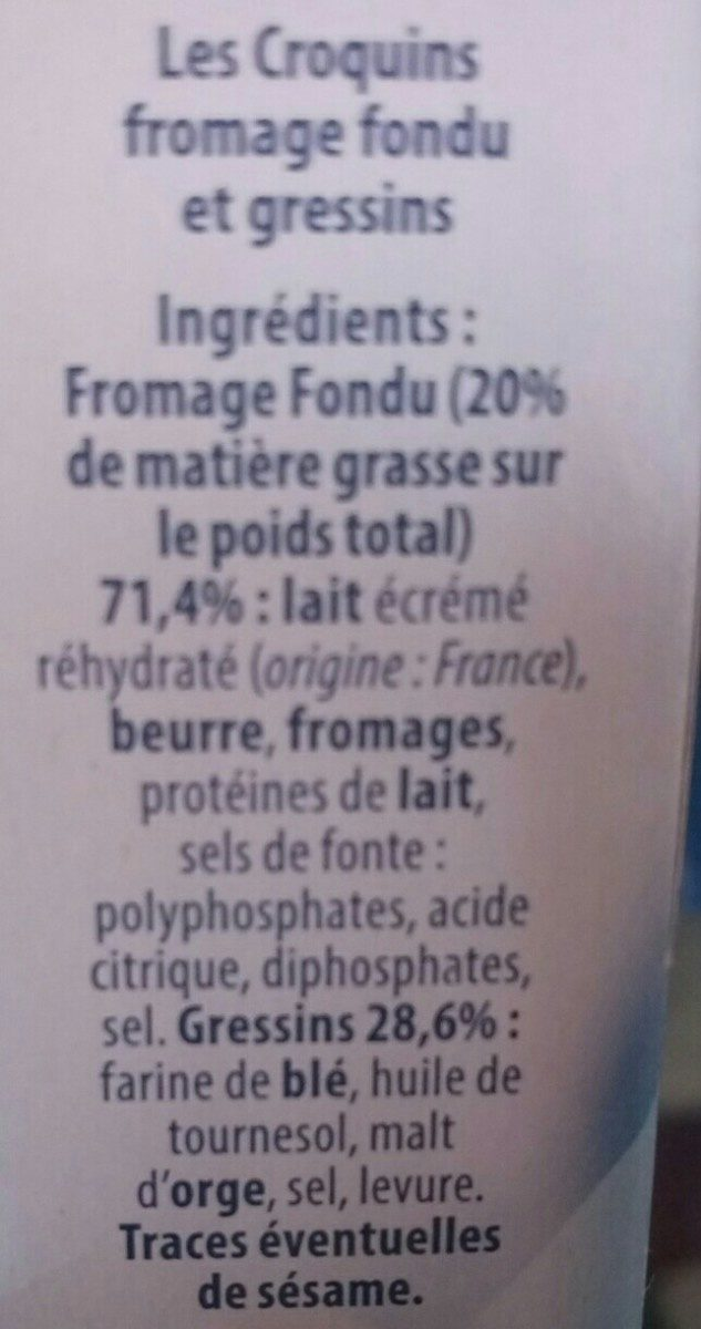 Fromage Fondu et Gressins - Ingrédients - fr