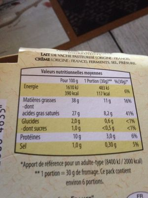 Brillat Savarin affiné - Nutrition facts - fr