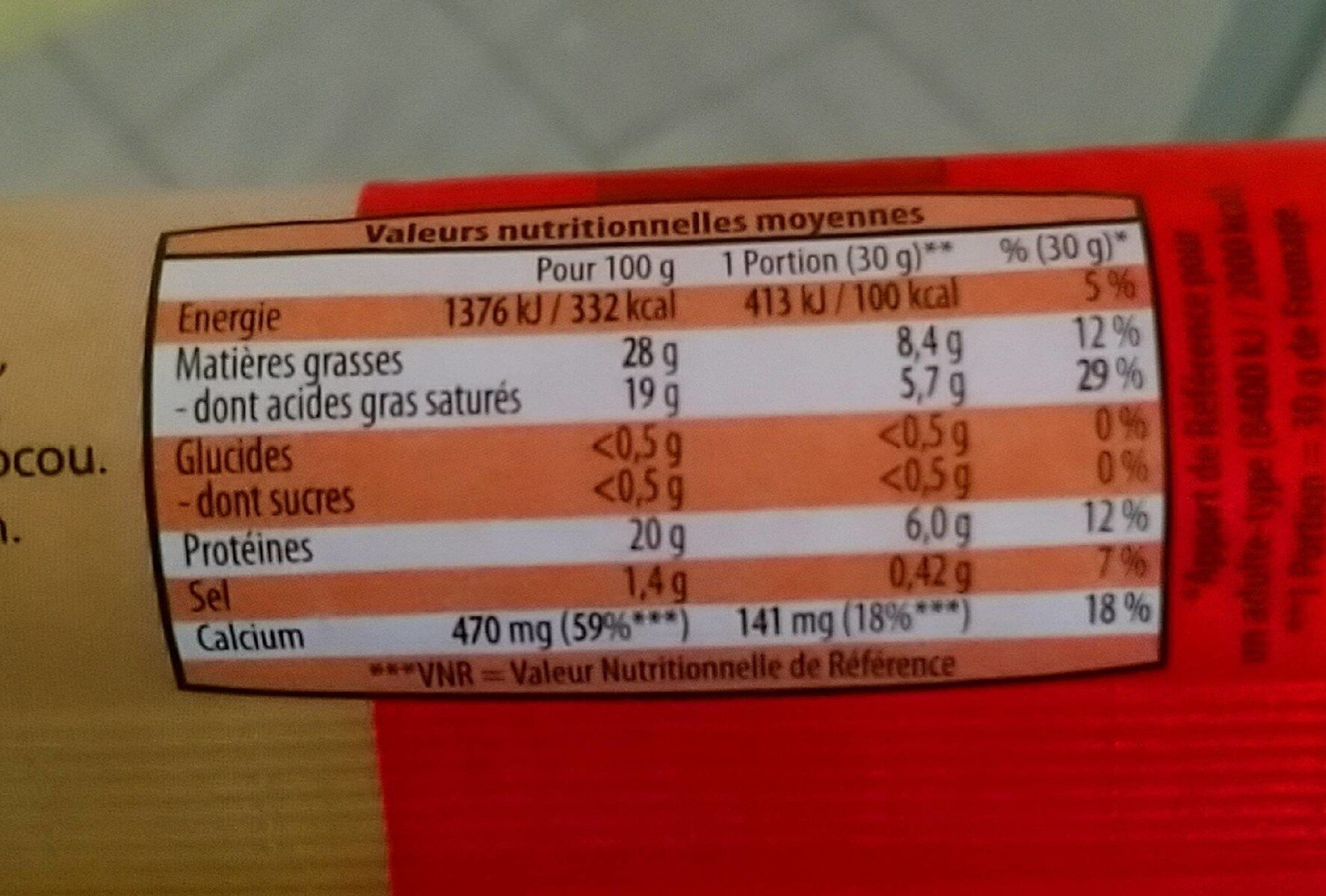 Bâton de fromage typé - Nutrition facts - fr