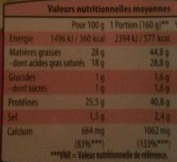 Fromage à Raclette sans croûte - Nutrition facts