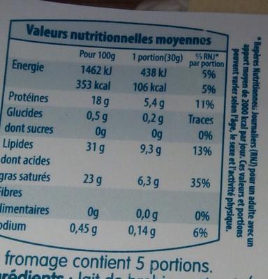 Brebily - Informations nutritionnelles - fr