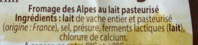 Tommette des alpes - Ingredients - fr