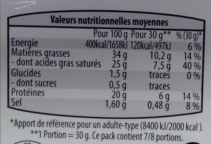 Pur brebis - Nutrition facts