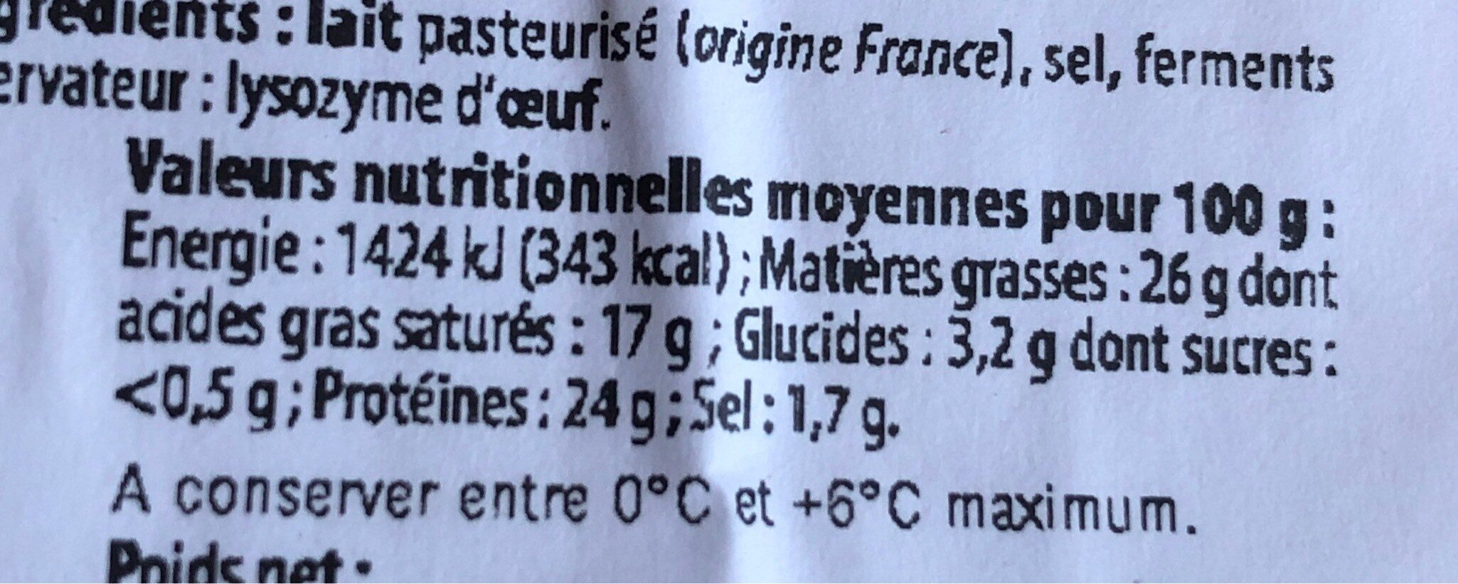 Tomme de montagne au goût fruité - Nutrition facts - fr