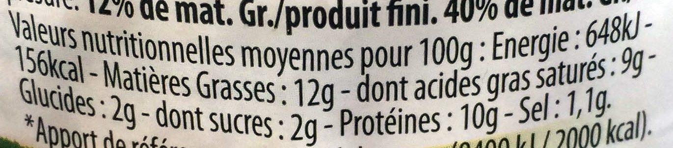 Fromage de chèvre frais - Nutrition facts - fr
