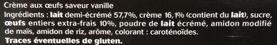 Crème aux Oeufs Saveur Vanille - Ingrédients - fr