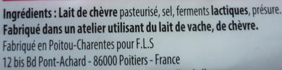 Fromage de chèvre (25% MG) - Ingrédients