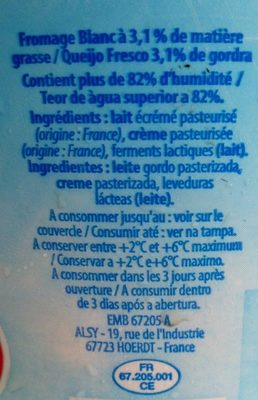 Fromage Blanc (3,1% MG) - Ingredients
