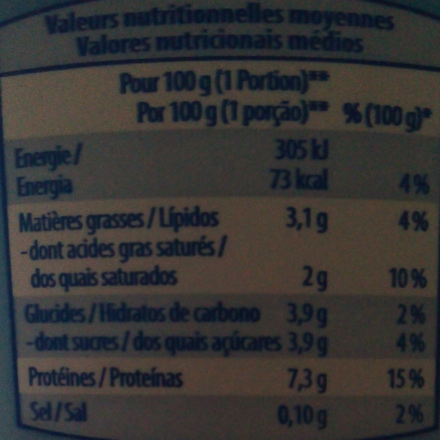 Fromage Blanc (3,1% MG) - Nutrition facts