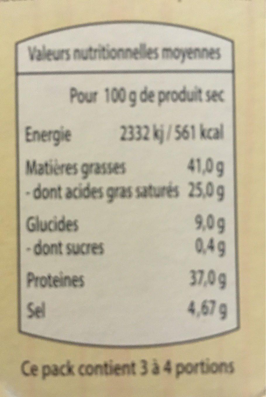 La fondue - Informations nutritionnelles