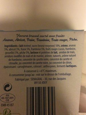 Yaourt Brassé Fruits Mixés - Ingrediënten - fr