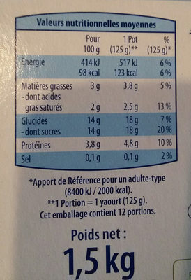 Yaourt Brassé Fruits Mixés - Voedingswaarden - fr