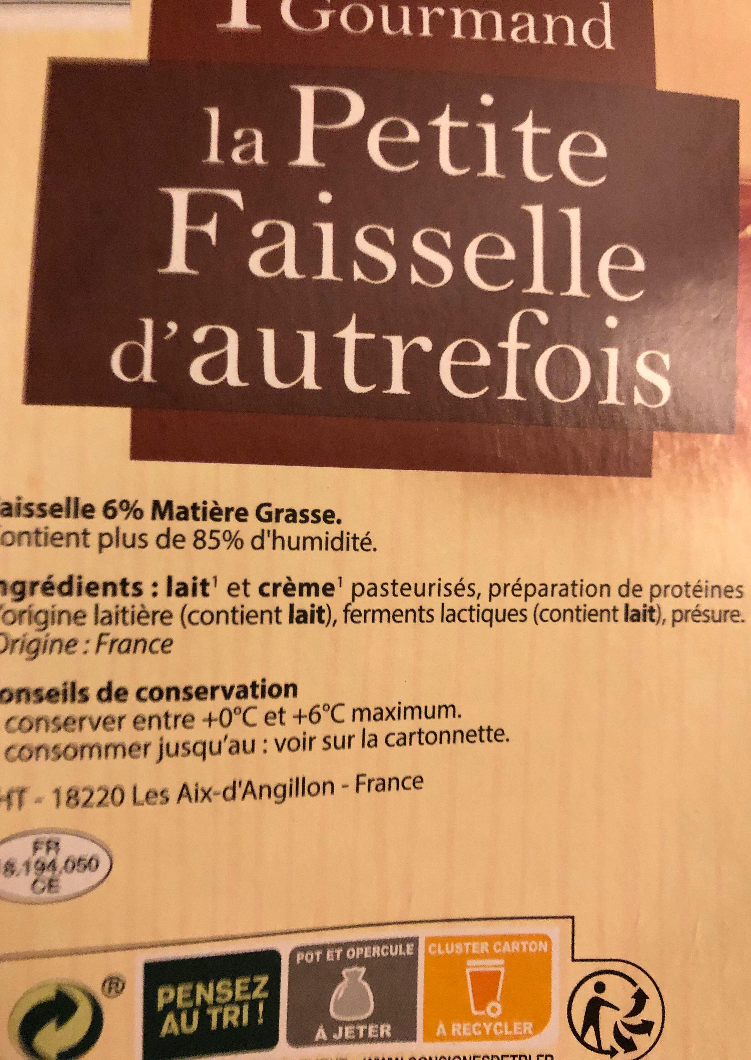 La petite faisselle d'autrefois - Ingredienti - fr