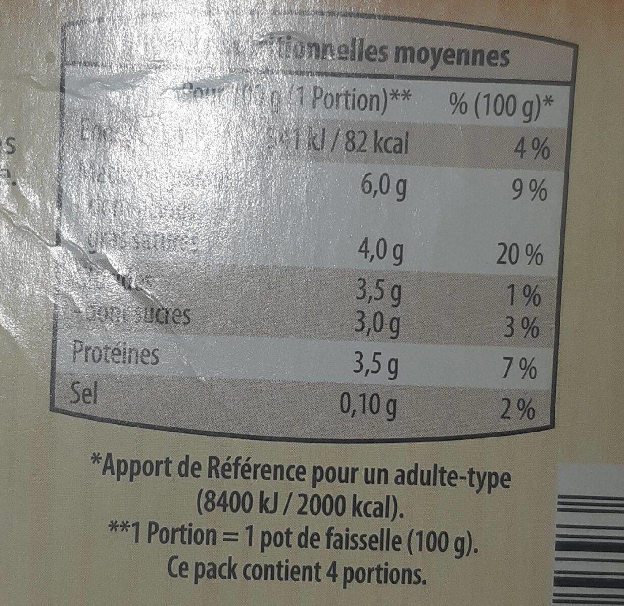 La petite faisselle d'autrefois - Valori nutrizionali - fr