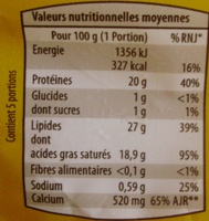 Fromage pour Tartiflette (27 % MG) - Informations nutritionnelles