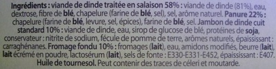 2 Cordons Bleus de Dinde - Ingrédients - fr