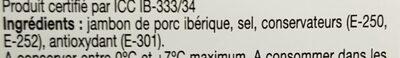 jambon bellota Iberique - Ingrédients - fr
