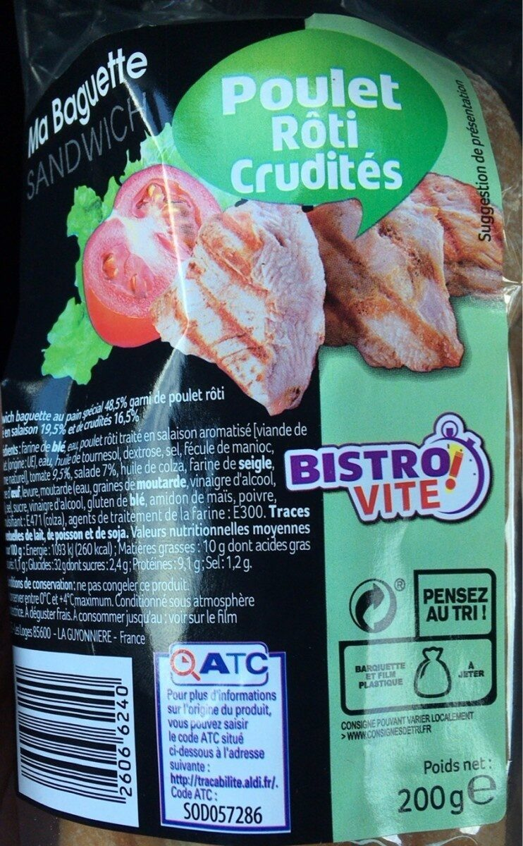 Ma Baguette Sandwich - Jambon Emmental - Produit - fr