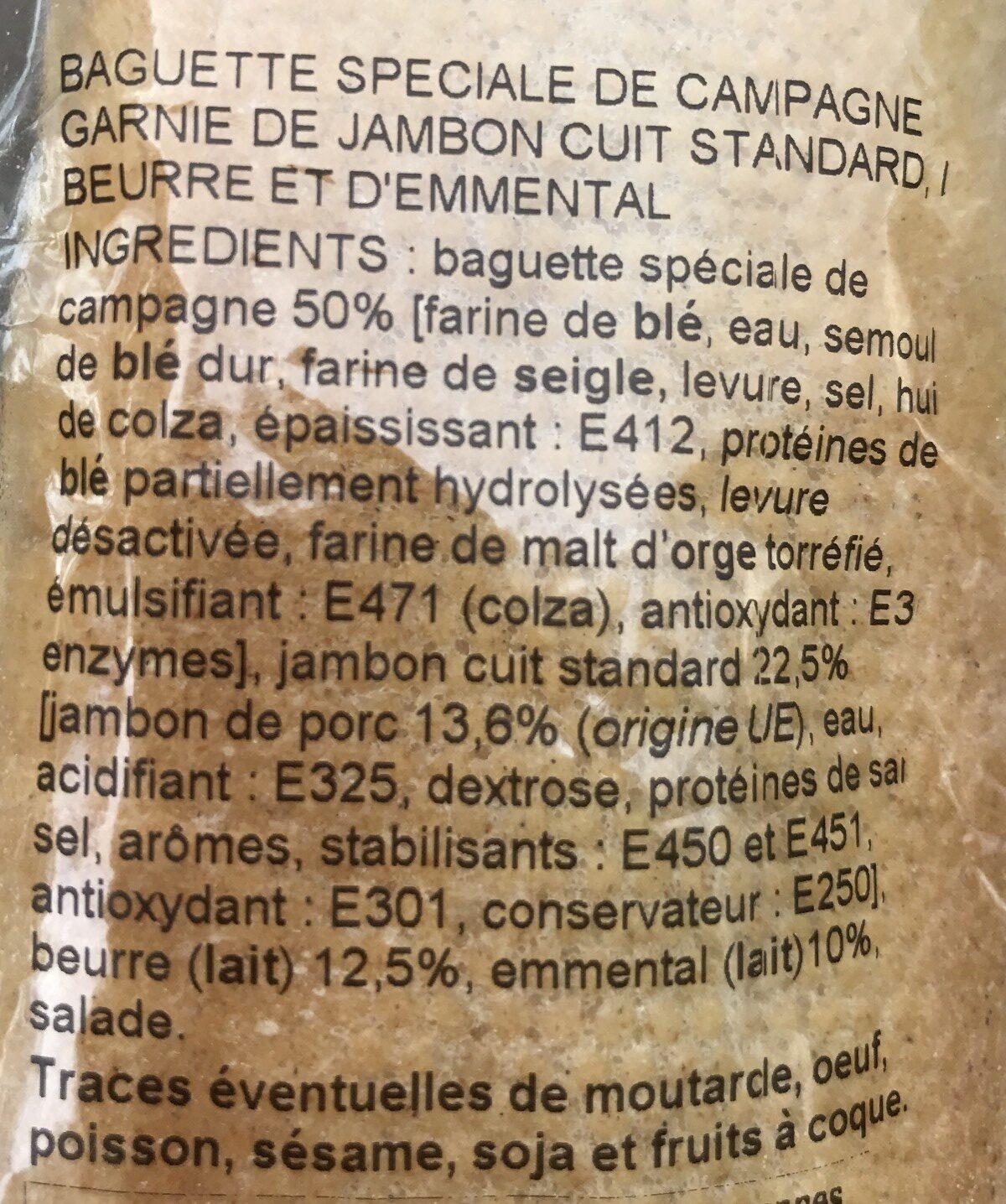 Ma Baguette Sandwich - Jambon Emmental - Ingrédients - fr