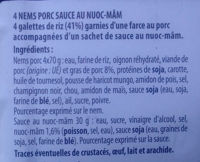 4 nems poulet sauce au Nuoc-Mâm - Ingredients