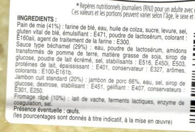 Croque-monsieur gratinés jambon fromage - Ingrédients - fr