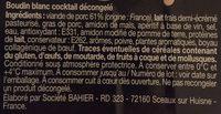Boudin cocktail - Ingrédients - fr