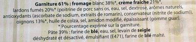 Flammekueche - Tarte flambée aux lardons et oignons - Ingredients - fr