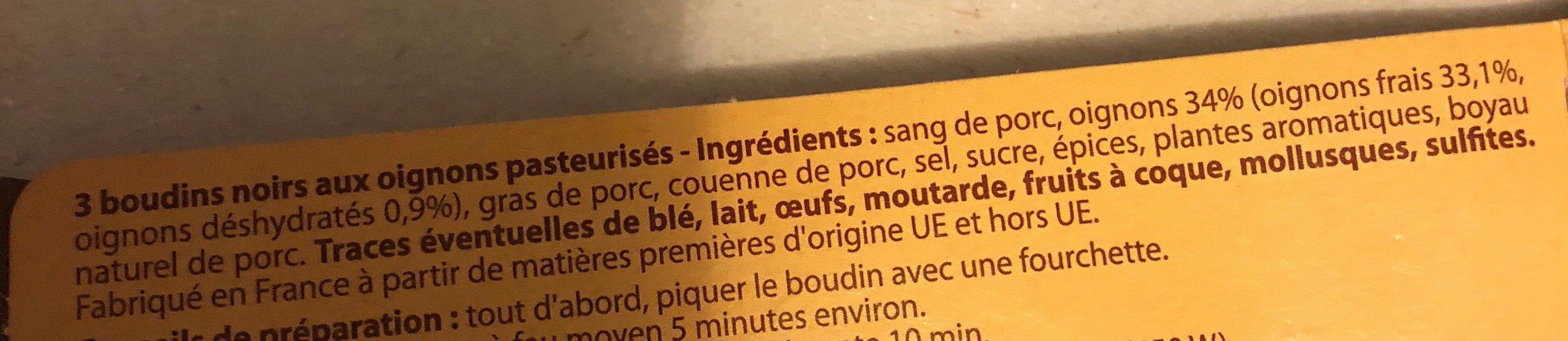 Boudins Noirs, Aux Oignons - Ingrédients - fr