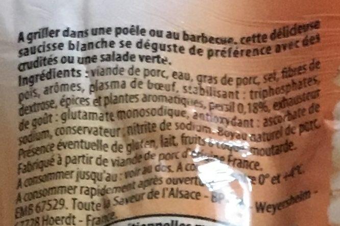 Saucisses blanches à griller aux herbes - Ingrédients - fr