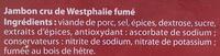 Jambon cru de Westphalie fumé - 13 tranches - Ingrédients