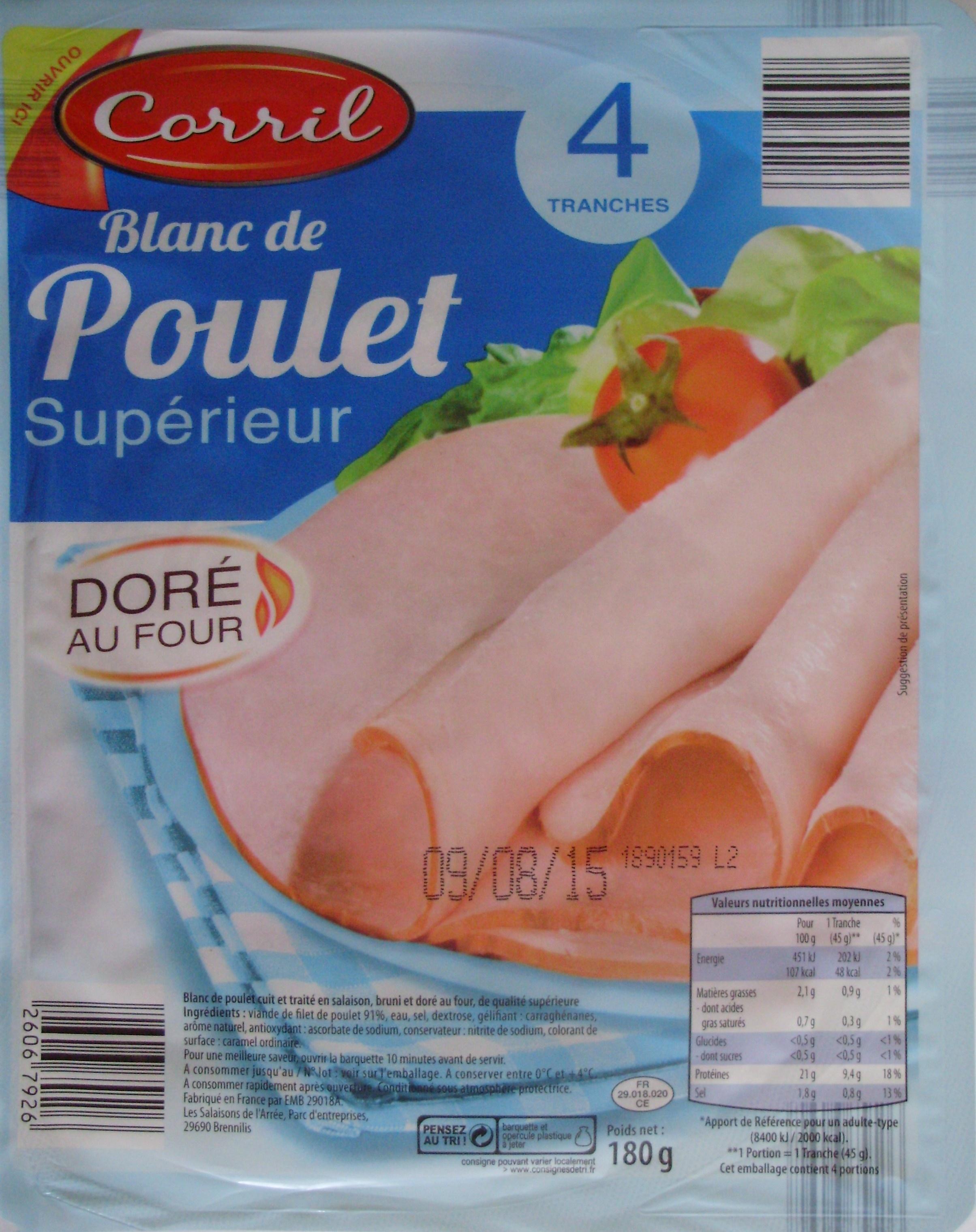Blanc de Poulet Supérieur (Doré au Four) 4 Tranches - Produit