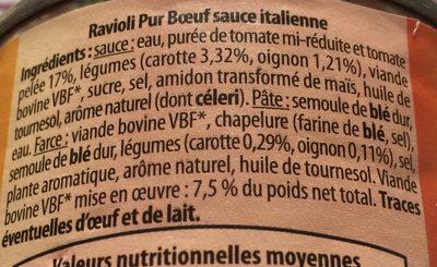 Ravioli Pur Bœuf (Sauce Italienne) - Ingrédients - fr