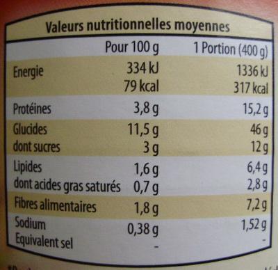 Ravioli Pur Bœuf (Sauce Italienne) - Informations nutritionnelles - fr