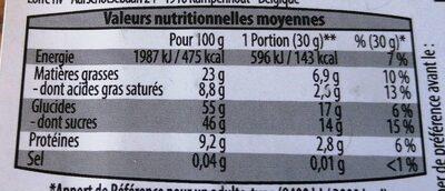 mélange éxotique - Informations nutritionnelles - en